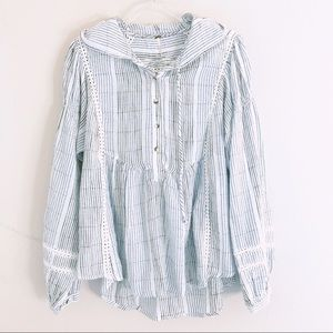 Free People stripe hoodie swing top XS New